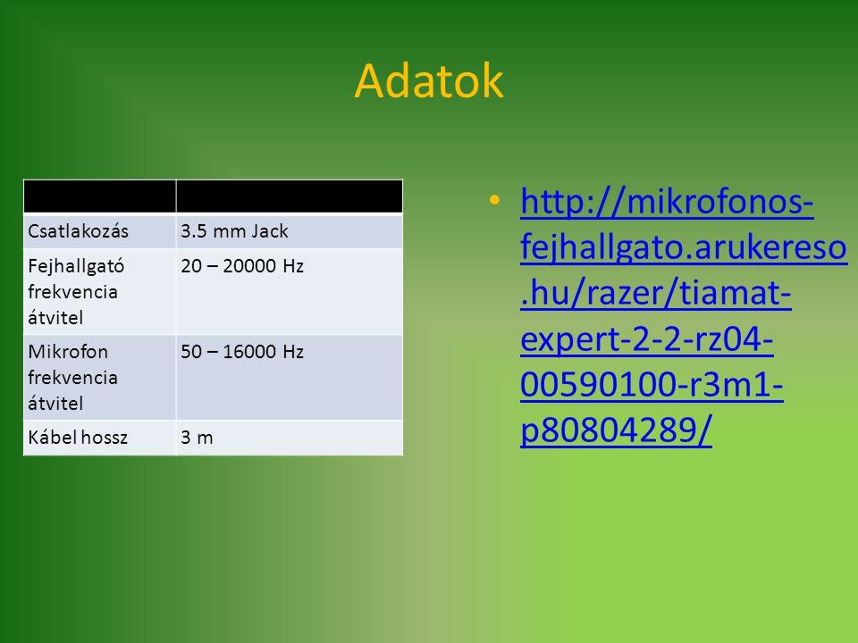Adatok Csatlakozás3.5 mm Jack Fejhallgató frekvencia átvitel 20 – 20000 Hz Mikrofon frekvencia átvitel 50 – 16000 Hz Kábel hossz3 m http://mikrofonos-