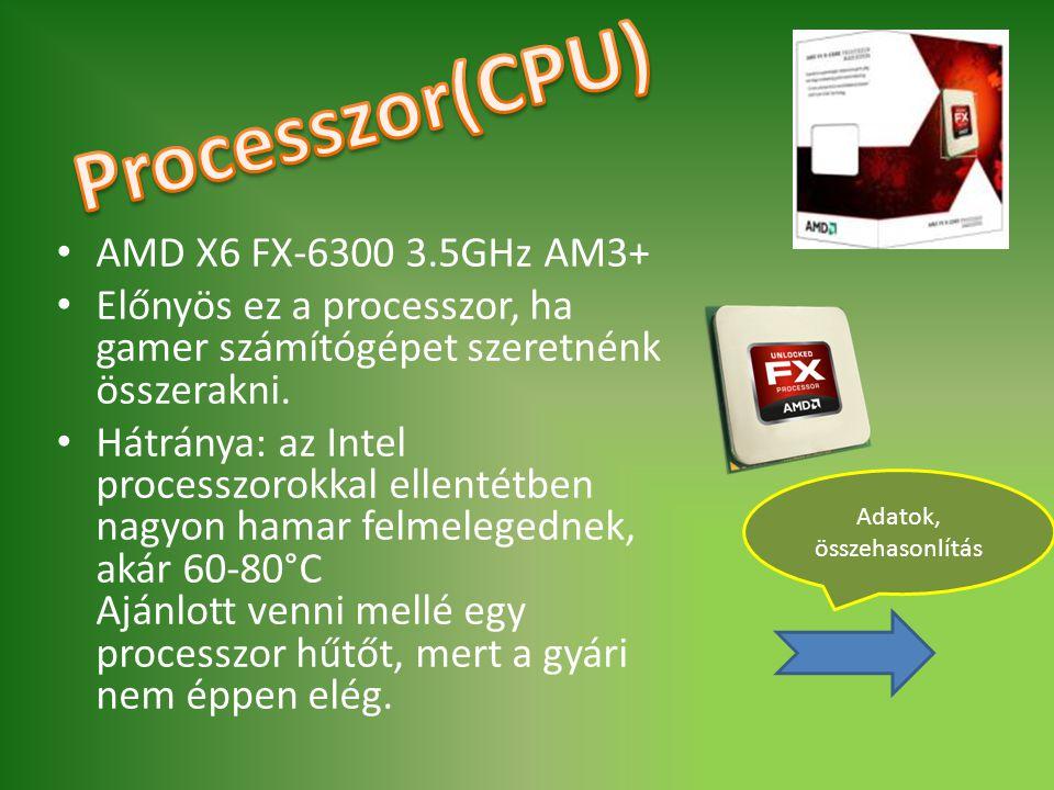 AMD X6 FX-6300 3.5GHz AM3+ Előnyös ez a processzor, ha gamer számítógépet szeretnénk összerakni. Hátránya: az Intel processzorokkal ellentétben nagyon