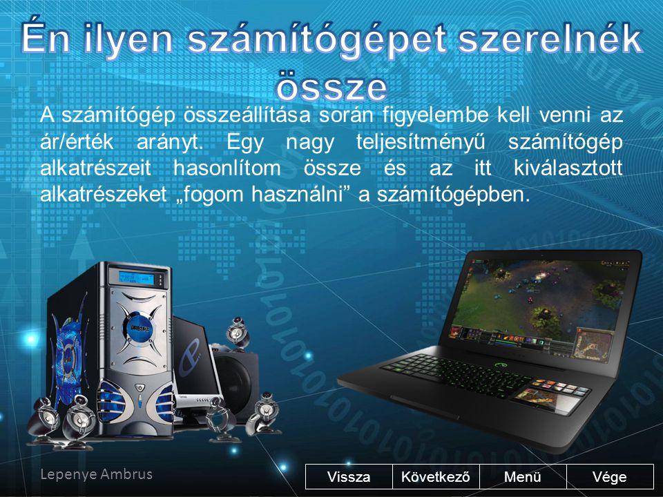 Processzor: Intel Core i5-3330 CPU @ 3.00GHz 3.00 GHz Memória: 8 GB DDR3 Operációsrendszer: Windows 8.1 Pro (64 bites) Videokártya: AMD Radeon R9 200 Series Alaplap: Asus Z77-A Adattárolók: 1 db 250 GB SSD és 1db 1 TB HDD A számítógépben található még DVD olvasó, tápegység, SD kártya olvasó és egy hálózati kártya.