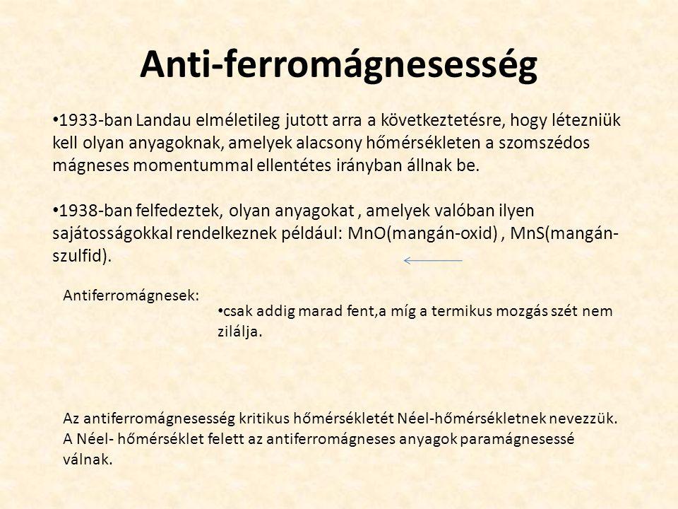 Anti-ferromágnesesség 1933-ban Landau elméletileg jutott arra a következtetésre, hogy létezniük kell olyan anyagoknak, amelyek alacsony hőmérsékleten a szomszédos mágneses momentummal ellentétes irányban állnak be.
