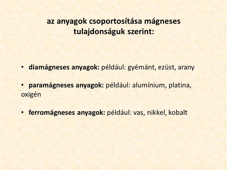 az anyagok csoportosítása mágneses tulajdonságuk szerint: diamágneses anyagok: például: gyémánt, ezüst, arany paramágneses anyagok: például: alumínium, platina, oxigén ferromágneses anyagok: például: vas, nikkel, kobalt