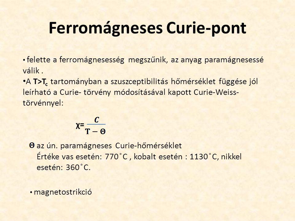 Ferromágneses Curie-pont felette a ferromágnesesség megszűnik, az anyag paramágnesessé válik.