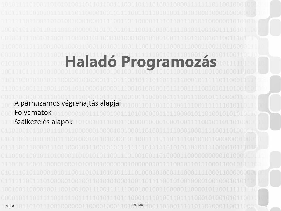V 1.0 OE-NIK HP 1 Haladó Programozás A párhuzamos végrehajtás alapjai Folyamatok Szálkezelés alapok