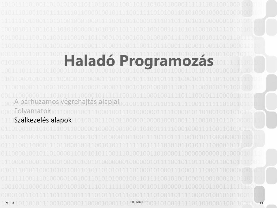 V 1.0 OE-NIK HP 11 Haladó Programozás A párhuzamos végrehajtás alapjai Folyamatok Szálkezelés alapok