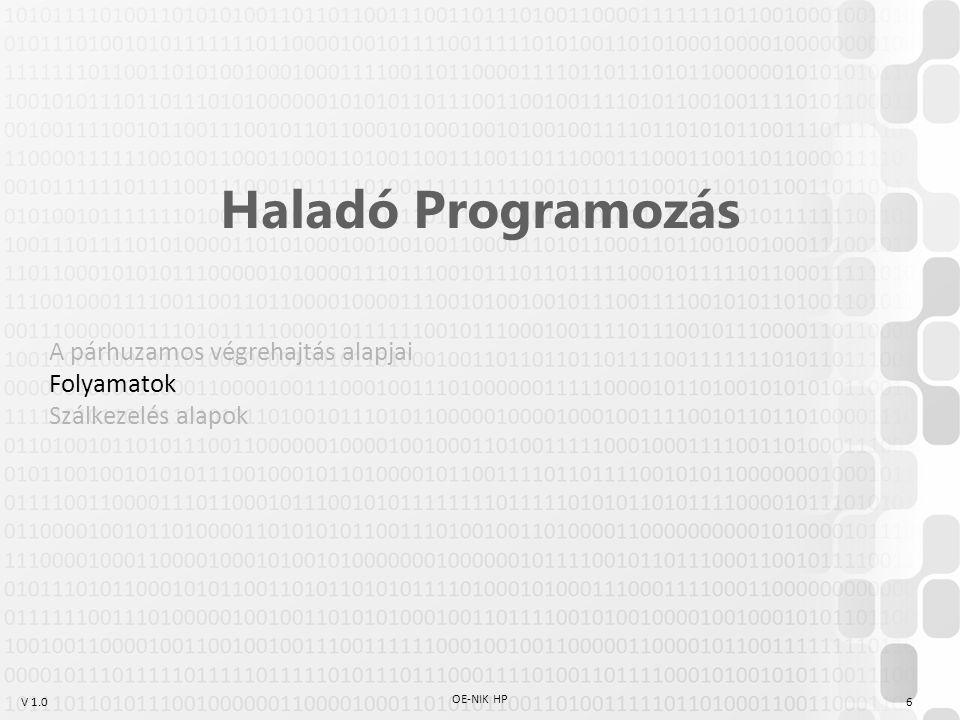V 1.0 OE-NIK HP 6 Haladó Programozás A párhuzamos végrehajtás alapjai Folyamatok Szálkezelés alapok
