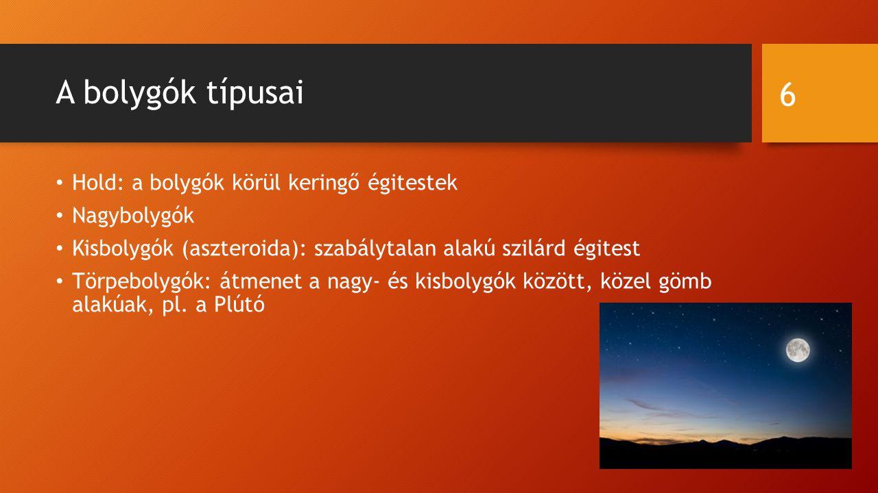 A bolygók típusai Hold: a bolygók körül keringő égitestek Nagybolygók Kisbolygók (aszteroida): szabálytalan alakú szilárd égitest Törpebolygók: átmene