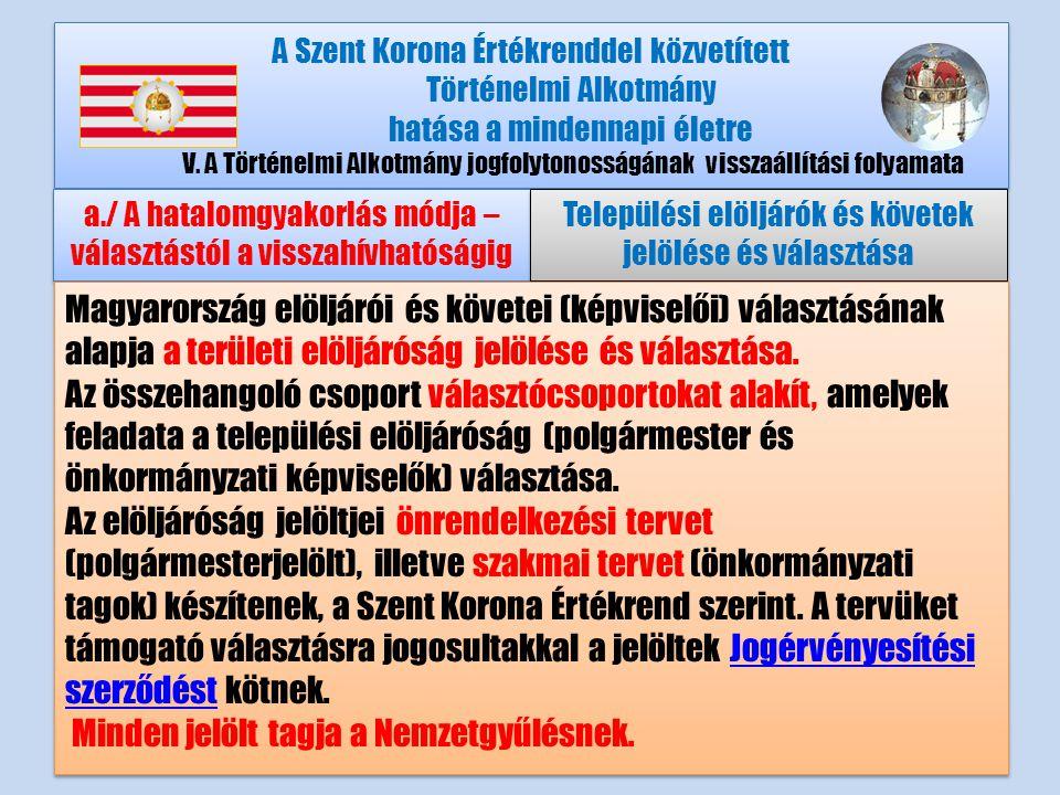 A Szent Korona Értékrenddel közvetített Történelmi Alkotmány hatása a mindennapi életre V.A Történelmi Alkotmány jogfolytonosságának visszaállítási folyamata a./ A hatalomgyakorlás módja – választástól a visszahívhatóságig Települési elöljárók és követek jelölése és választása Magyarország elöljárói és követei (képviselői) választásának alapja a területi elöljáróság jelölése és választása.