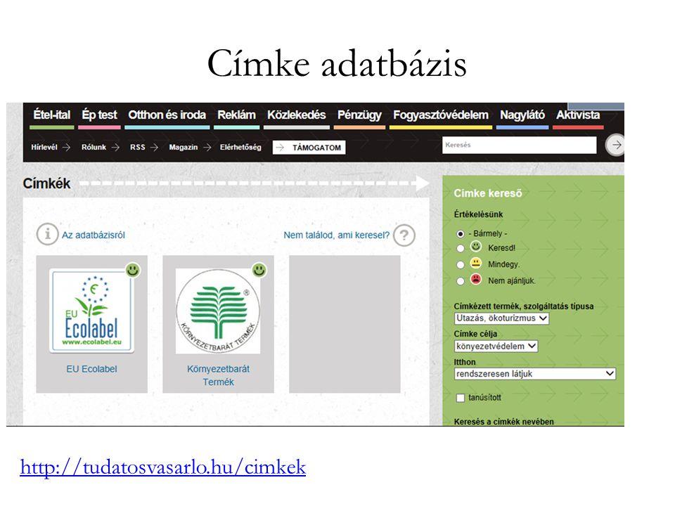 Címke adatbázis http://tudatosvasarlo.hu/cimkek