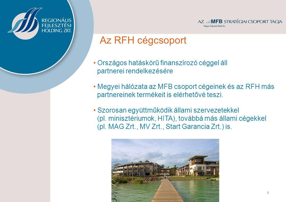 4 Az RFH cégcsoport Országos hatáskörű finanszírozó céggel áll partnerei rendelkezésére Megyei hálózata az MFB csoport cégeinek és az RFH más partnereinek termékeit is elérhetővé teszi.
