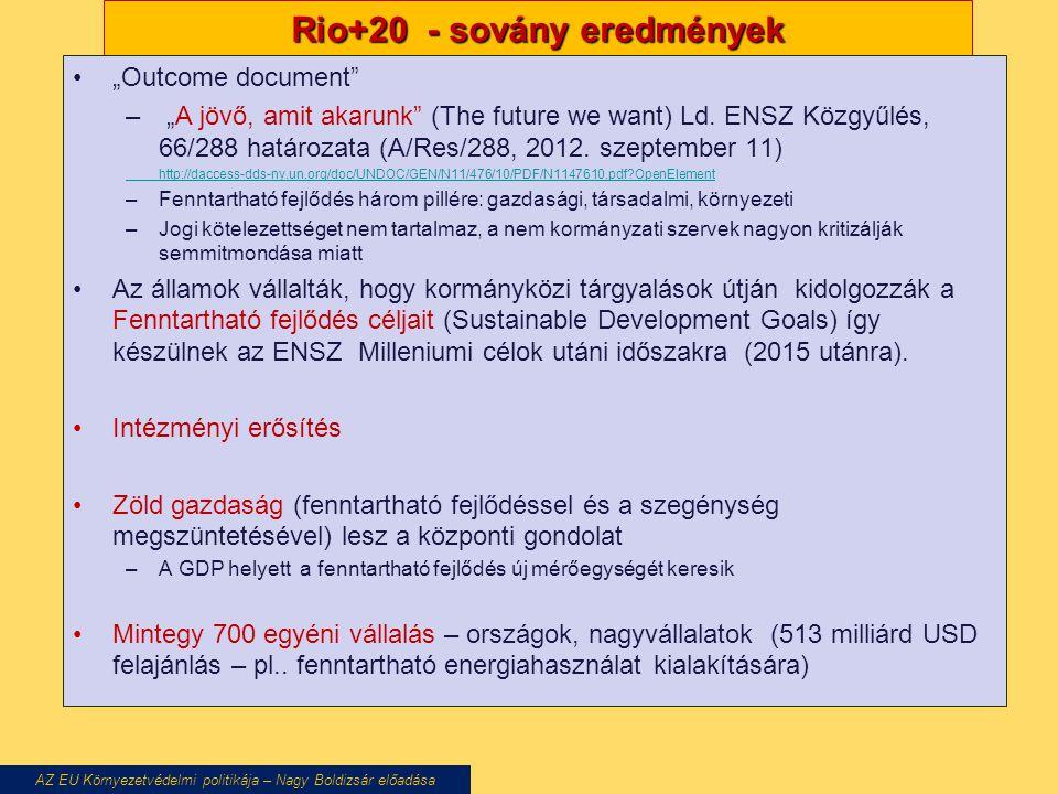 """Rio+20 - sovány eredmények """"Outcome document – """"A jövő, amit akarunk (The future we want) Ld."""