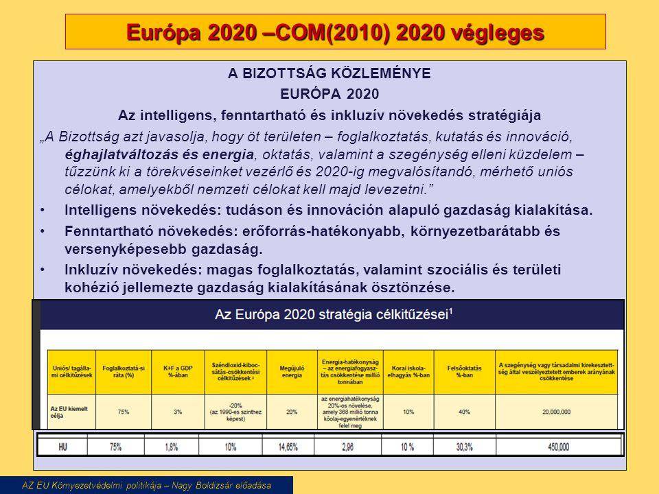 """Európa 2020 –COM(2010) 2020 végleges A BIZOTTSÁG KÖZLEMÉNYE EURÓPA 2020 Az intelligens, fenntartható és inkluzív növekedés stratégiája """"A Bizottság azt javasolja, hogy öt területen – foglalkoztatás, kutatás és innováció, éghajlatváltozás és energia, oktatás, valamint a szegénység elleni küzdelem – tűzzünk ki a törekvéseinket vezérlő és 2020-ig megvalósítandó, mérhető uniós célokat, amelyekből nemzeti célokat kell majd levezetni. Intelligens növekedés: tudáson és innováción alapuló gazdaság kialakítása."""
