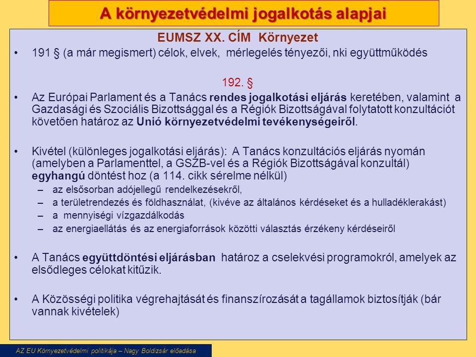 A környezetvédelmi jogalkotás alapjai EUMSZ XX.