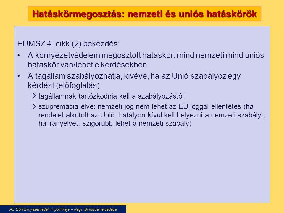 Hatáskörmegosztás: nemzeti és uniós hatáskörök EUMSZ 4.