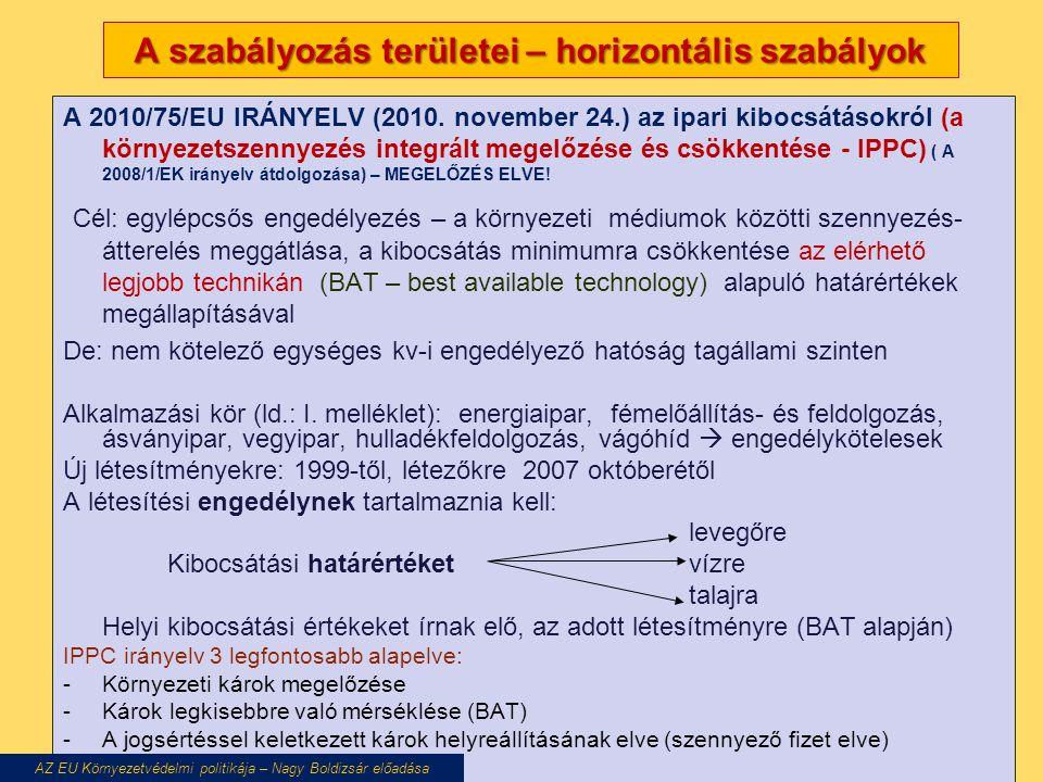 A szabályozás területei – horizontális szabályok A 2010/75/EU IRÁNYELV (2010.