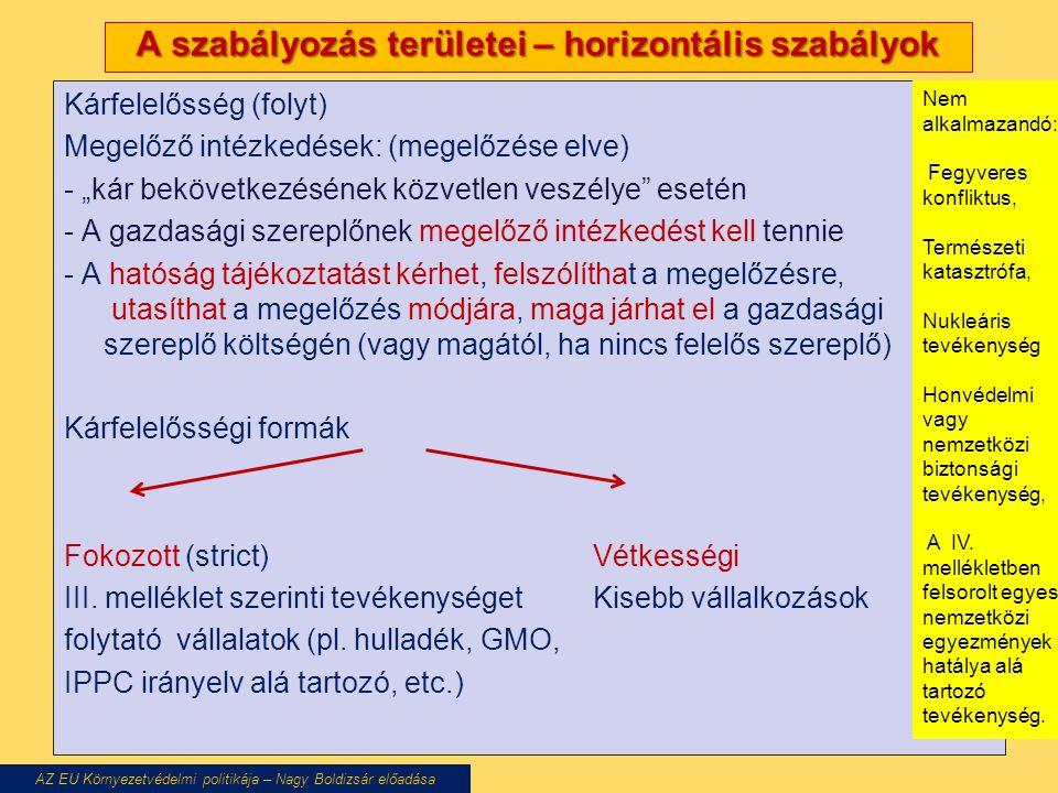"""A szabályozás területei – horizontális szabályok Kárfelelősség (folyt) Megelőző intézkedések: (megelőzése elve) - """"kár bekövetkezésének közvetlen veszélye esetén - A gazdasági szereplőnek megelőző intézkedést kell tennie - A hatóság tájékoztatást kérhet, felszólíthat a megelőzésre, utasíthat a megelőzés módjára, maga járhat el a gazdasági szereplő költségén (vagy magától, ha nincs felelős szereplő) Kárfelelősségi formák Fokozott (strict)Vétkességi III."""