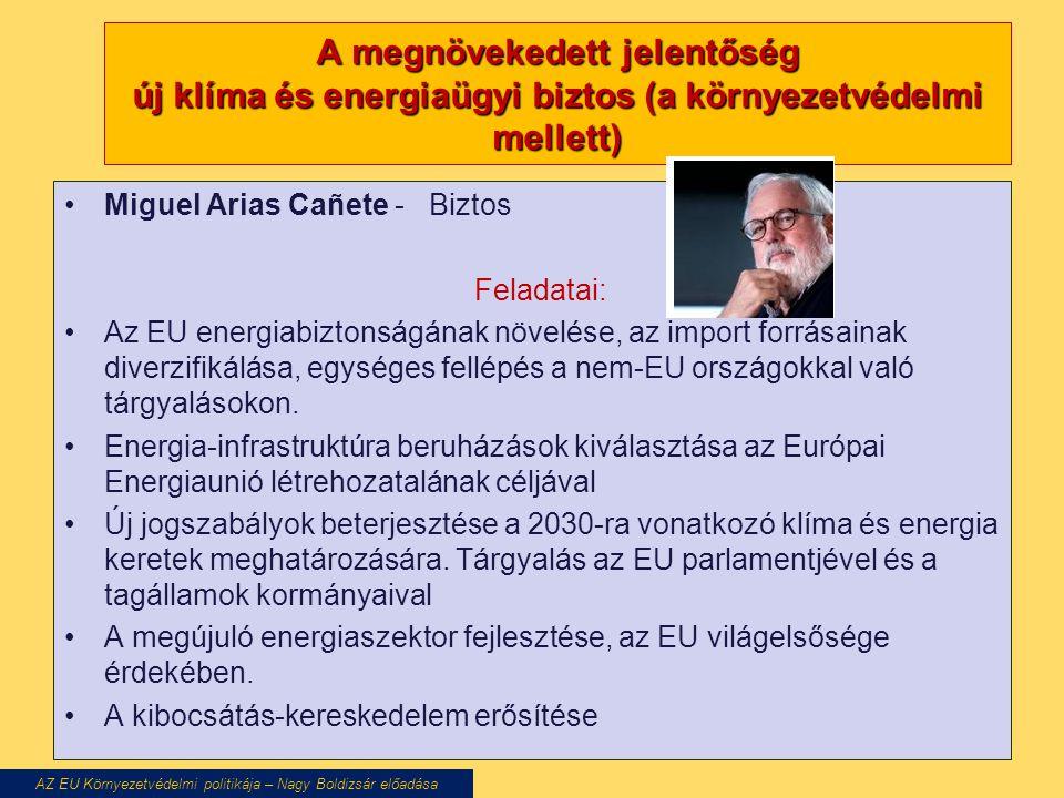 A megnövekedett jelentőség új klíma és energiaügyi biztos (a környezetvédelmi mellett) Miguel Arias Cañete - Biztos Feladatai: Az EU energiabiztonságának növelése, az import forrásainak diverzifikálása, egységes fellépés a nem-EU országokkal való tárgyalásokon.