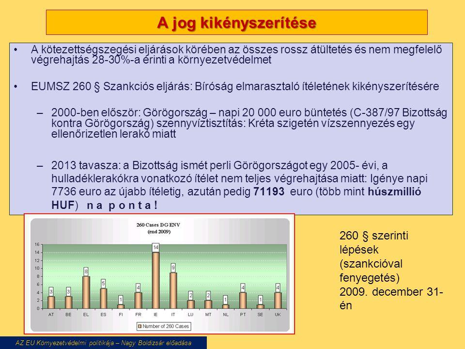 A jog kikényszerítése A kötezettségszegési eljárások körében az összes rossz átültetés és nem megfelelő végrehajtás 28-30%-a érinti a környezetvédelmet EUMSZ 260 § Szankciós eljárás: Bíróság elmarasztaló ítéletének kikényszerítésére –2000-ben először: Görögország – napi 20 000 euro büntetés (C-387/97 Bizottság kontra Görögország) szennyvíztisztítás: Kréta szigetén vízszennyezés egy ellenőrizetlen lerakó miatt –2013 tavasza: a Bizottság ismét perli Görögországot egy 2005- évi, a hulladéklerakókra vonatkozó ítélet nem teljes végrehajtása miatt: Igénye napi 7736 euro az újabb ítéletig, azután pedig 71193 euro (több mint húszmillió HUF) n a p o n t a .