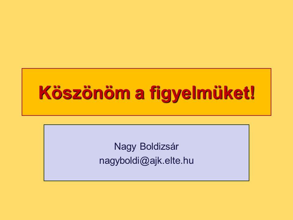 Köszönöm a figyelmüket! Nagy Boldizsár nagyboldi@ajk.elte.hu
