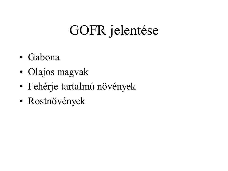GOFR jelentése Gabona Olajos magvak Fehérje tartalmú növények Rostnövények