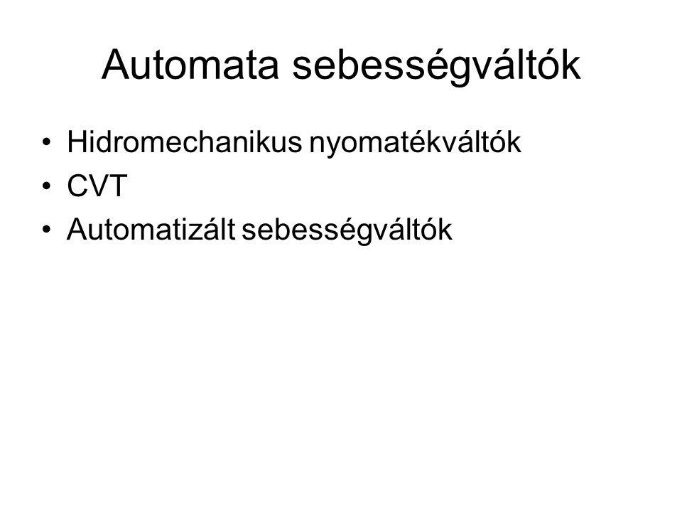 Automata sebességváltók Hidromechanikus nyomatékváltók CVT Automatizált sebességváltók