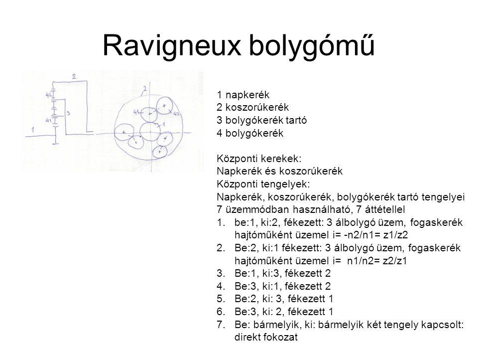 Ravigneux bolygómű 1 napkerék 2 koszorúkerék 3 bolygókerék tartó 4 bolygókerék Központi kerekek: Napkerék és koszorúkerék Központi tengelyek: Napkerék