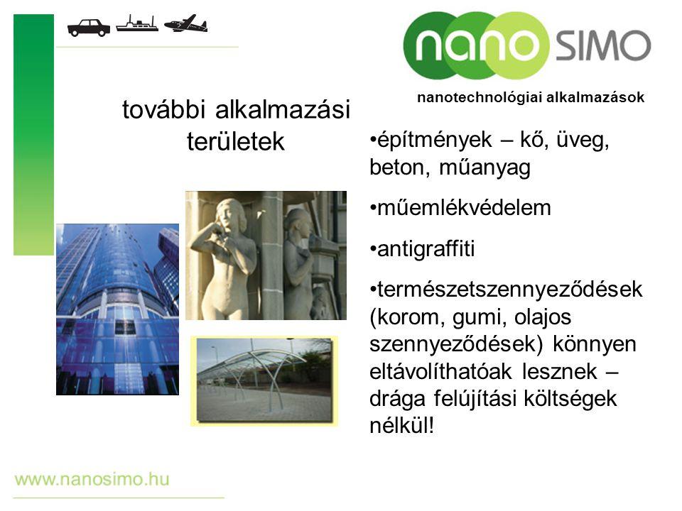 további alkalmazási területek építmények – kő, üveg, beton, műanyag műemlékvédelem antigraffiti természetszennyeződések (korom, gumi, olajos szennyező