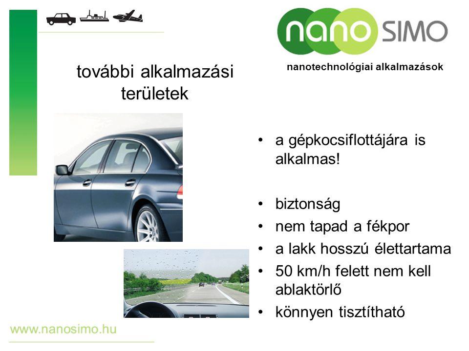 a gépkocsiflottájára is alkalmas! biztonság nem tapad a fékpor a lakk hosszú élettartama 50 km/h felett nem kell ablaktörlő könnyen tisztítható tovább