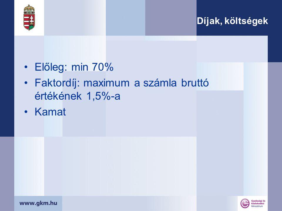 Díjak, költségek Előleg: min 70% Faktordíj: maximum a számla bruttó értékének 1,5%-a Kamat