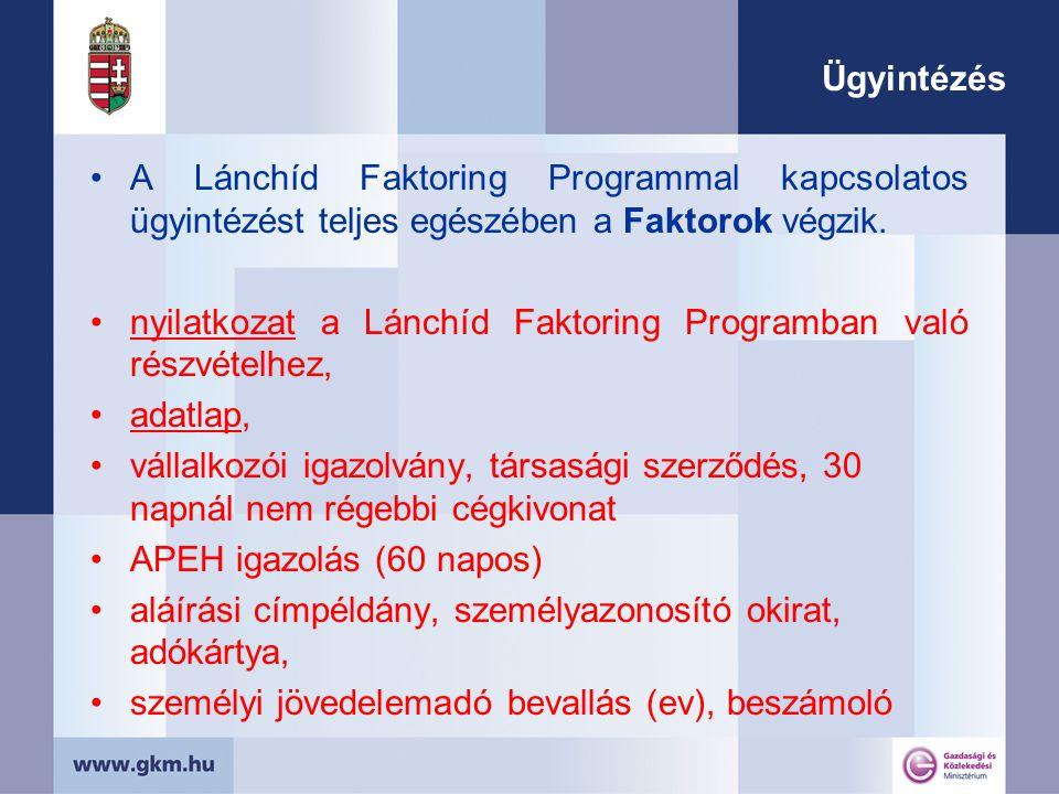 Ügyintézés A Lánchíd Faktoring Programmal kapcsolatos ügyintézést teljes egészében a Faktorok végzik.