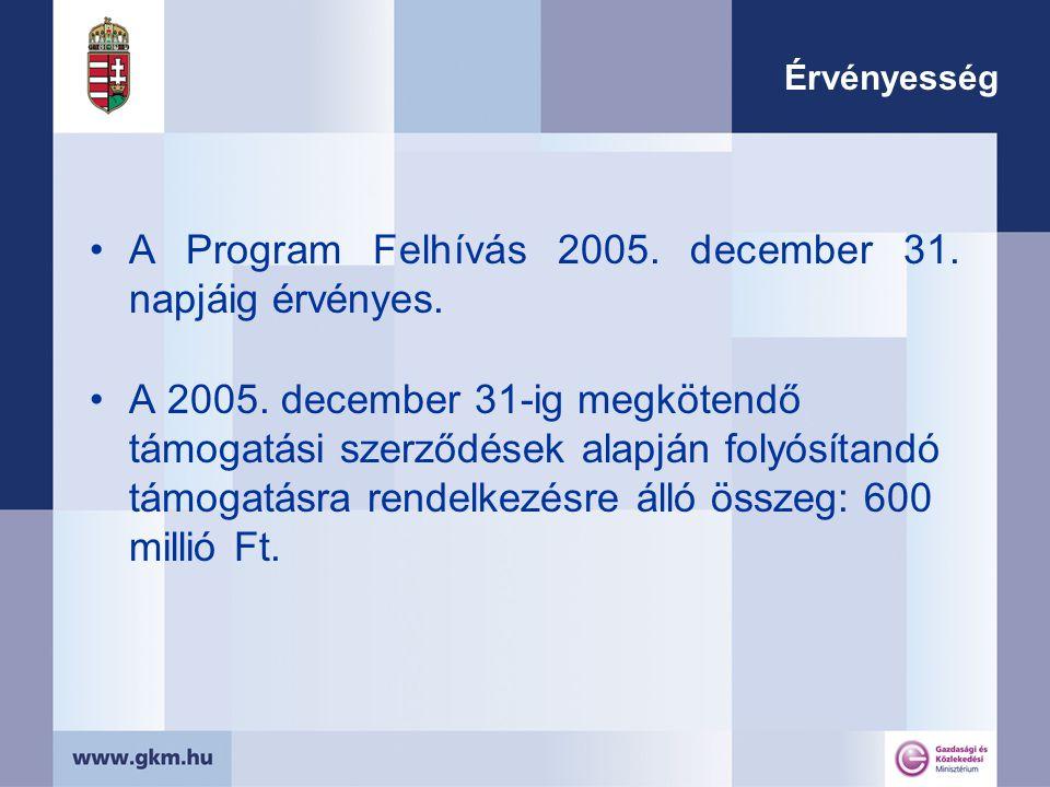 Érvényesség A Program Felhívás 2005.december 31. napjáig érvényes.