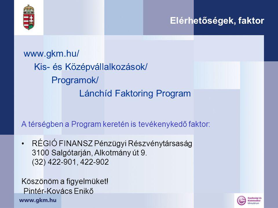 Elérhetőségek, faktor www.gkm.hu/ Kis- és Középvállalkozások/ Programok/ Lánchíd Faktoring Program A térségben a Program keretén is tevékenykedő faktor: RÉGIÓ FINANSZ Pénzügyi Részvénytársaság 3100 Salgótarján, Alkotmány út 9.