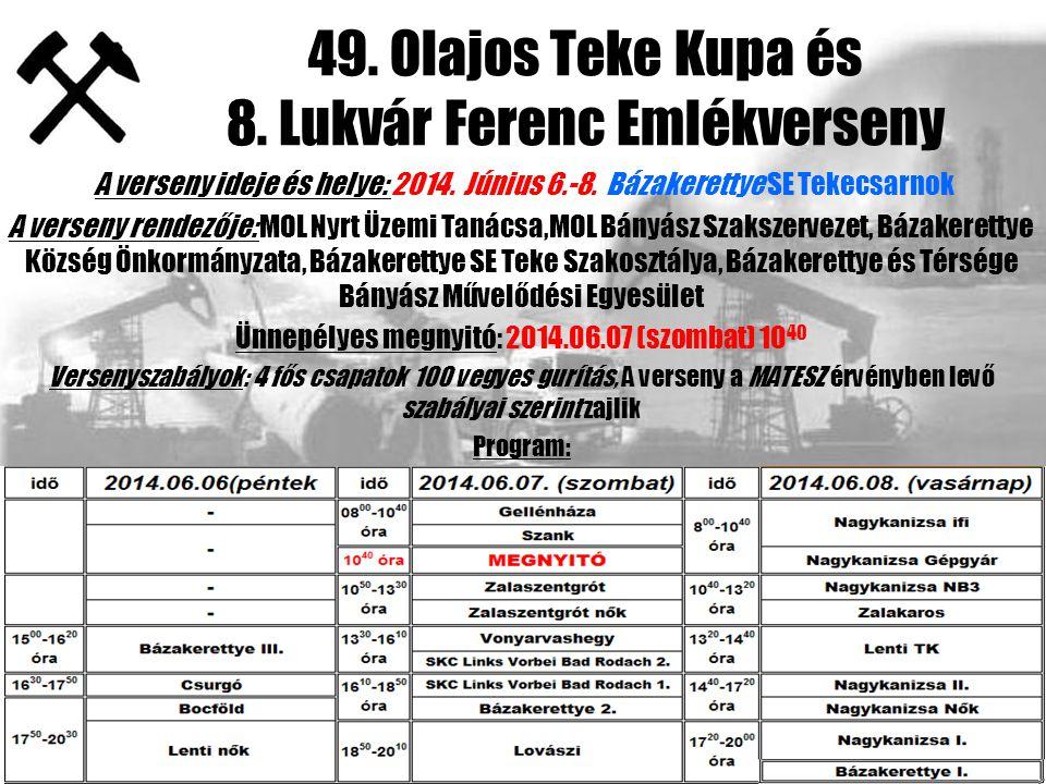 49. Olajos Teke Kupa és 8. Lukvár Ferenc Emlékverseny A verseny ideje és helye: 2014.