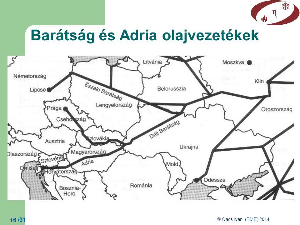 /31 © Gács Iván (BME) 2014 16 Barátság és Adria olajvezetékek