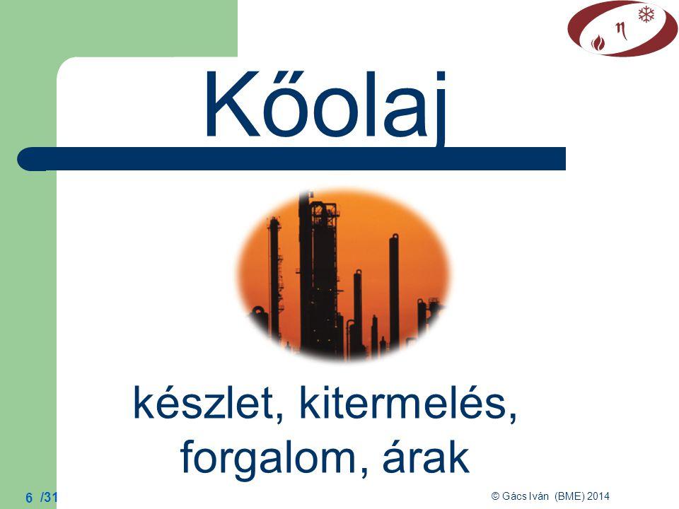 /31 © Gács Iván (BME) 2014 17 Nyersolaj évi átlagára világ olajtermelése: 1870: 1 Mt/év 1900: 20 Mt/év 2000: 3600 Mt/év
