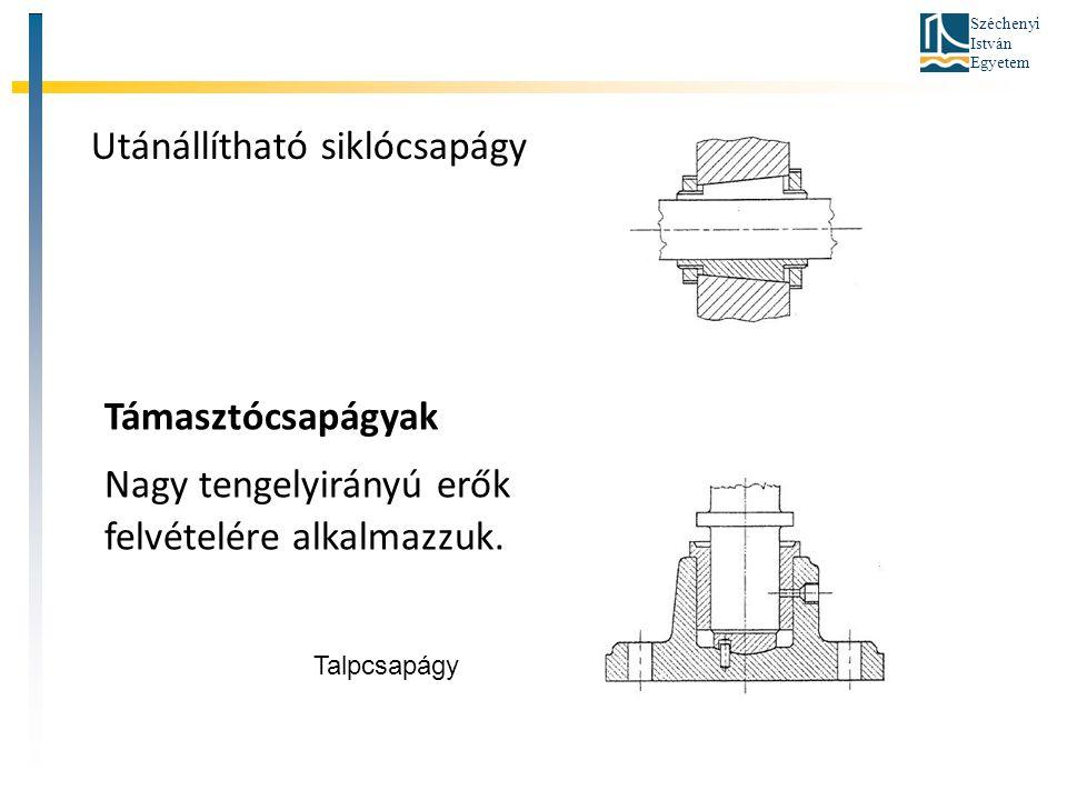 Széchenyi István Egyetem Támasztócsapágyak Nagy tengelyirányú erők felvételére alkalmazzuk. Utánállítható siklócsapágy Talpcsapágy