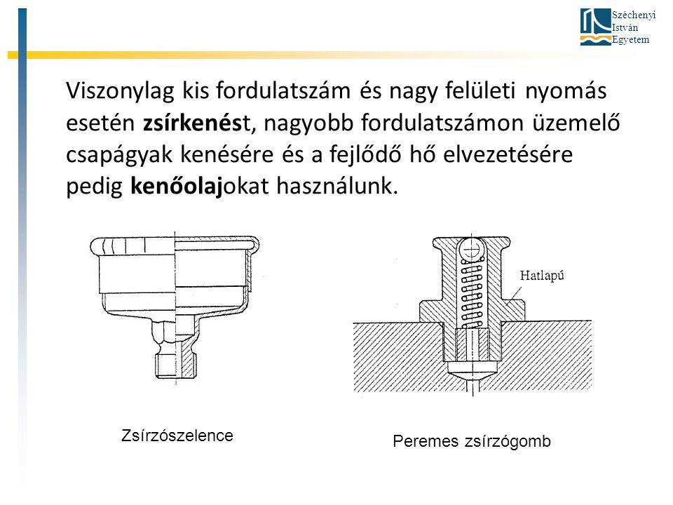 Széchenyi István Egyetem Viszonylag kis fordulatszám és nagy felületi nyomás esetén zsírkenést, nagyobb fordulatszámon üzemelő csapágyak kenésére és a