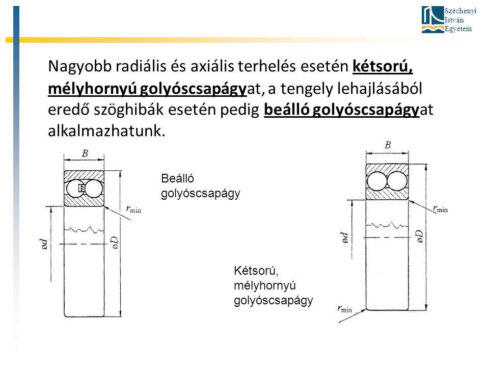 Széchenyi István Egyetem Nagyobb radiális és axiális terhelés esetén kétsorú, mélyhornyú golyóscsapágyat, a tengely lehajlásából eredő szöghibák eseté