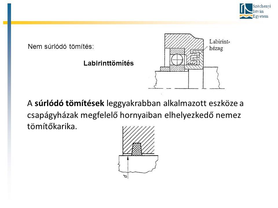 Széchenyi István Egyetem A súrlódó tömítések leggyakrabban alkalmazott eszköze a csapágyházak megfelelő hornyaiban elhelyezkedő nemez tömítőkarika. Ne