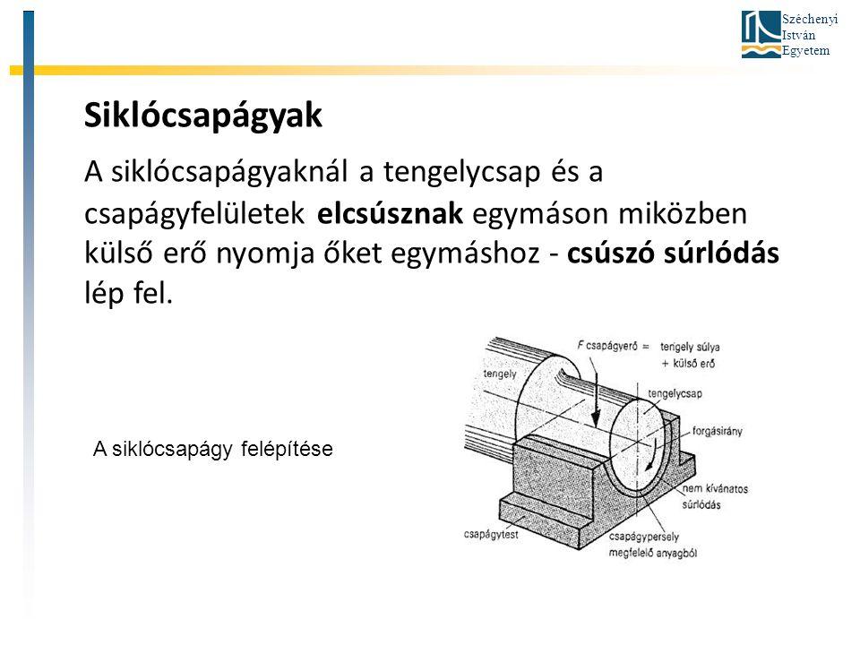 Széchenyi István Egyetem Az axiális terheléssel egy időben radiális terhelés felvételére is alkalmasak az axiális beálló görgőscsapágyak.