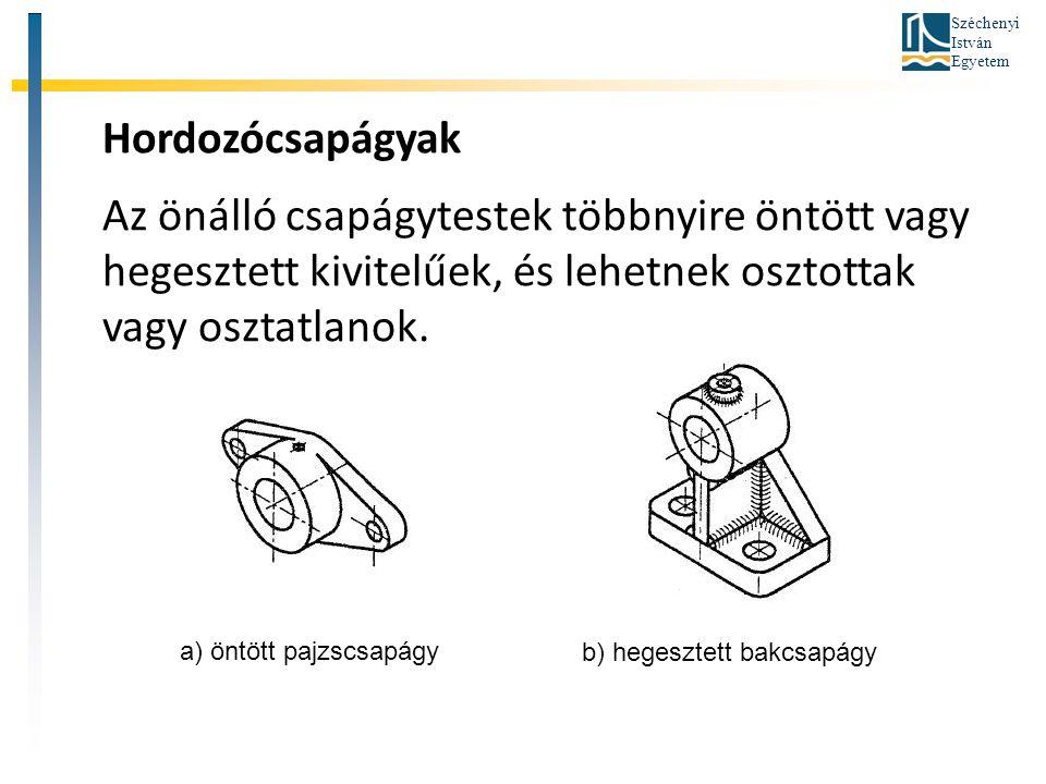 Széchenyi István Egyetem Hordozócsapágyak Az önálló csapágytestek többnyire öntött vagy hegesztett kivitelűek, és lehetnek osztottak vagy osztatlanok.