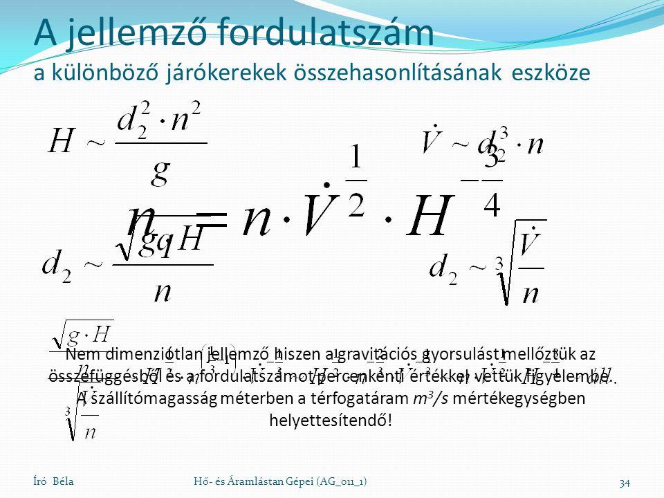 Író BélaHő- és Áramlástan Gépei (AG_011_1)34 Nem dimenziótlan jellemző hiszen a gravitációs gyorsulást mellőztük az összefüggésből és a fordulatszámot percenkénti értékkel vettük figyelembe.