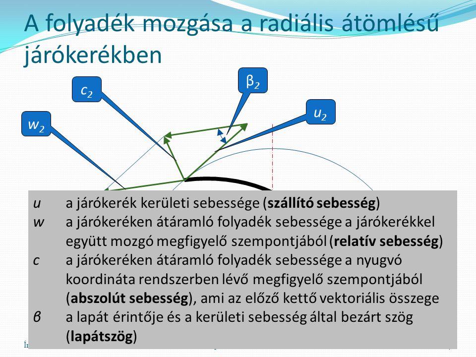 A folyadék mozgása a radiális átömlésű járókerékben Író BélaHő- és Áramlástan Gépei (AG_011_1)7 u2u2 w2w2 c2c2 β2β2 ua járókerék kerületi sebessége (szállító sebesség) wa járókeréken átáramló folyadék sebessége a járókerékkel együtt mozgó megfigyelő szempontjából (relatív sebesség) ca járókeréken átáramló folyadék sebessége a nyugvó koordináta rendszerben lévő megfigyelő szempontjából (abszolút sebesség), ami az előző kettő vektoriális összege βa lapát érintője és a kerületi sebesség által bezárt szög (lapátszög)