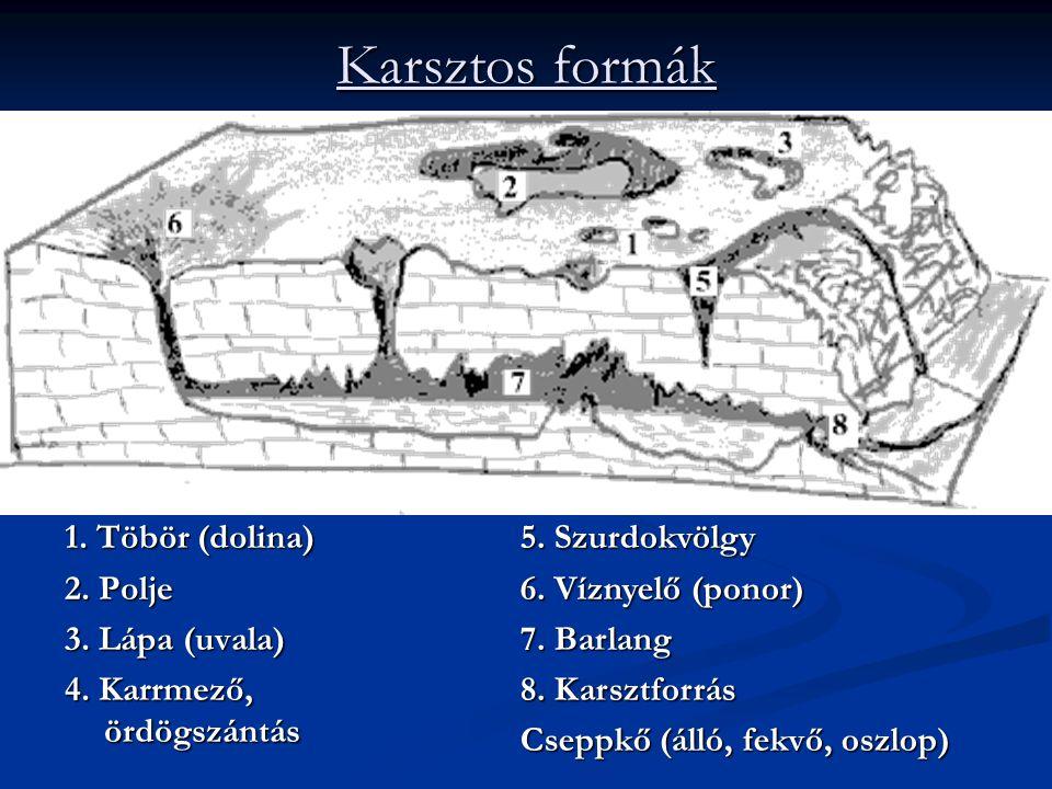 Karsztos formák 1.Töbör (dolina) 2. Polje 3. Lápa (uvala) 4.