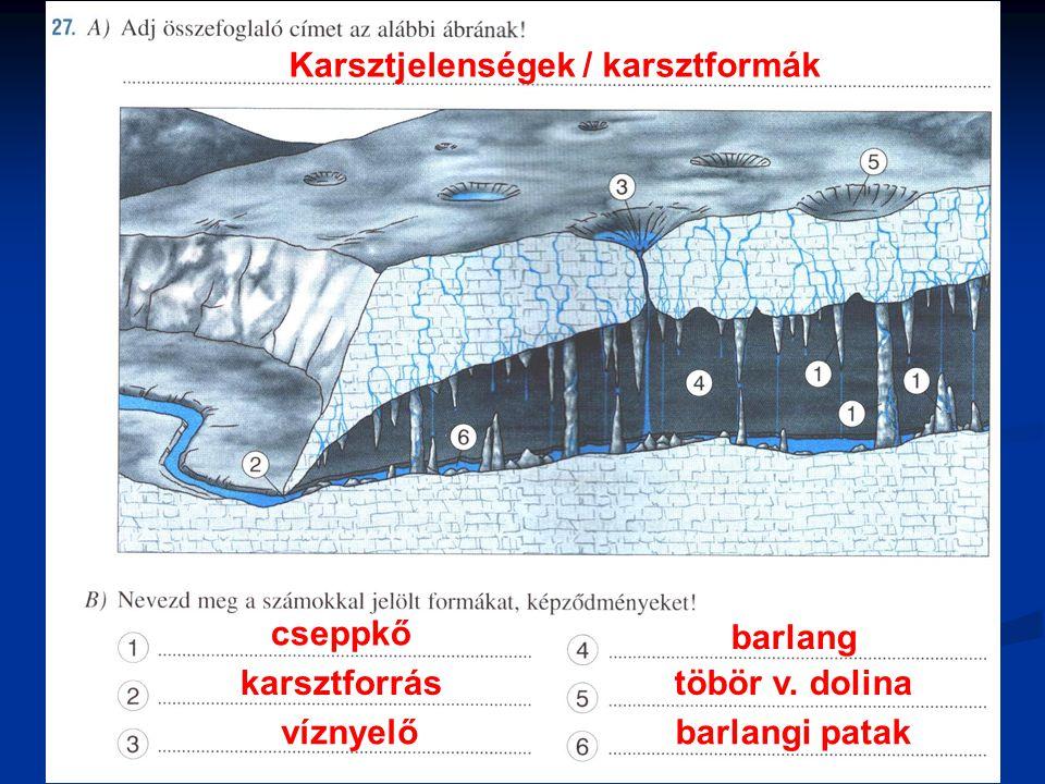 Karsztjelenségek / karsztformák cseppkő karsztforrás víznyelő barlang töbör v. dolina barlangi patak
