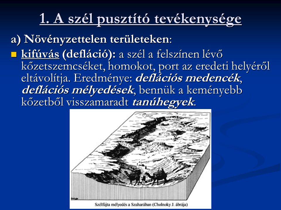 1. A szél pusztító tevékenysége a) Növényzettelen területeken: kifúvás (defláció): a szél a felszínen lévő kőzetszemcséket, homokot, port az eredeti h