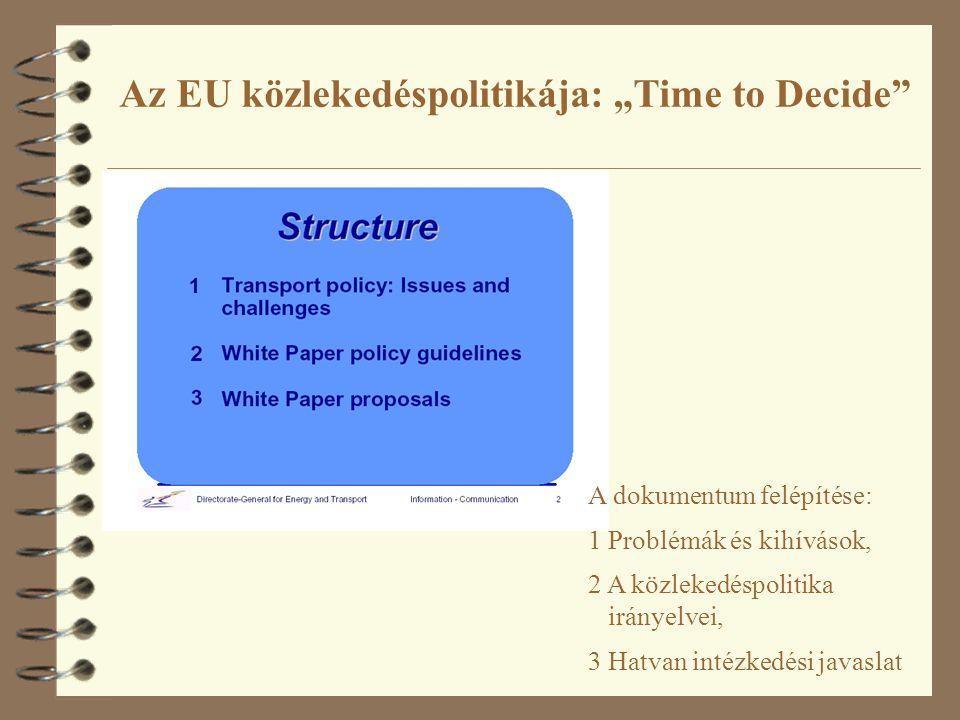 """Az EU közlekedéspolitikája: """"Time to Decide A dokumentum felépítése: 1 Problémák és kihívások, 2 A közlekedéspolitika irányelvei, 3 Hatvan intézkedési javaslat"""