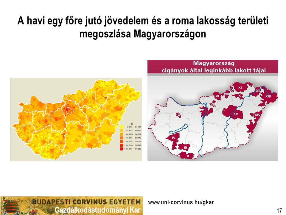 Gazdálkodástudományi Kar www.uni-corvinus.hu/gkar 17 A havi egy főre jutó jövedelem és a roma lakosság területi megoszlása Magyarországon