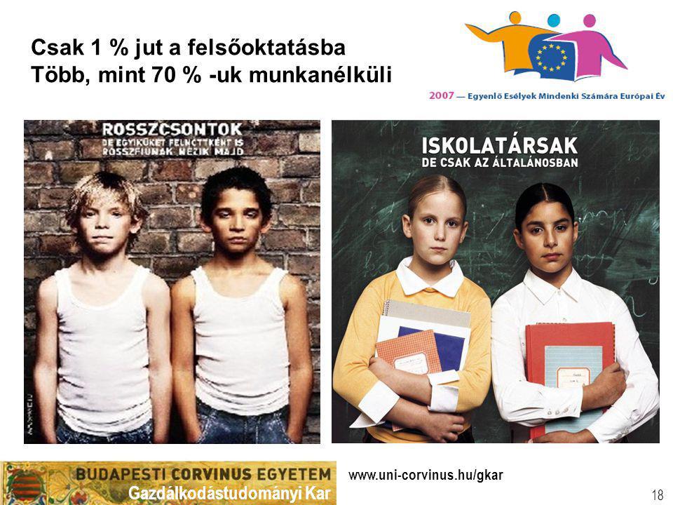 Gazdálkodástudományi Kar www.uni-corvinus.hu/gkar 18 Csak 1 % jut a felsőoktatásba Több, mint 70 % -uk munkanélküli