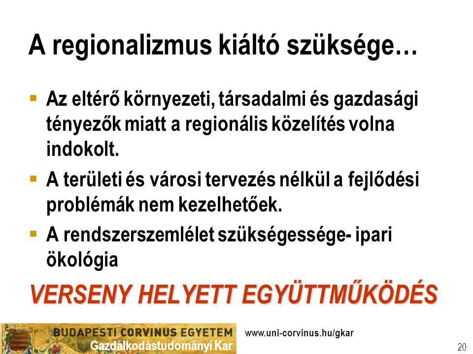 Gazdálkodástudományi Kar www.uni-corvinus.hu/gkar 20 A regionalizmus kiáltó szüksége…  Az eltérő környezeti, társadalmi és gazdasági tényezők miatt a