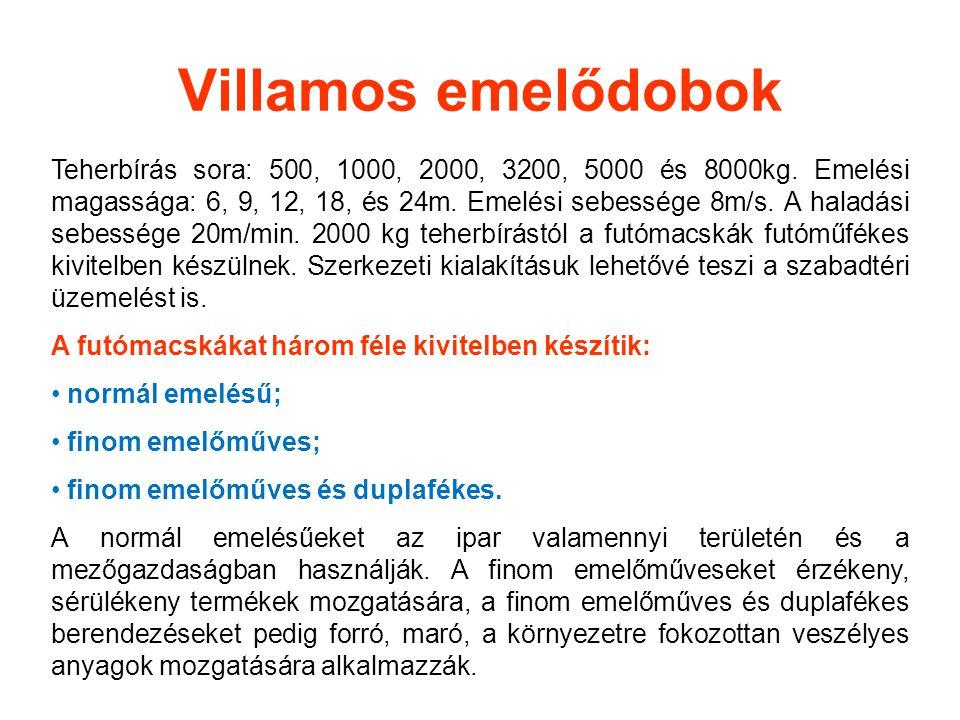 Villamos emelődobok Teherbírás sora: 500, 1000, 2000, 3200, 5000 és 8000kg. Emelési magassága: 6, 9, 12, 18, és 24m. Emelési sebessége 8m/s. A haladás